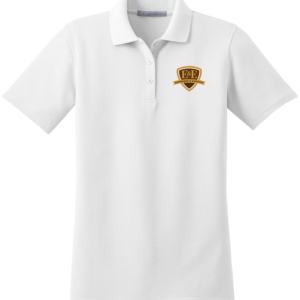 White Polo Shirt with Brown Logo by Espresso & Exotics